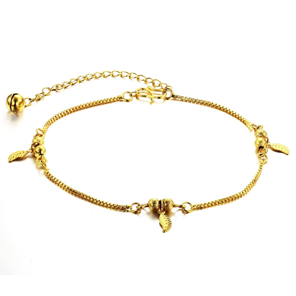 Tengyi Fashion Accessories Foot Jewelry Love Yellow Gold Color Charm Anklets  Nice Gift For Women Wholesale