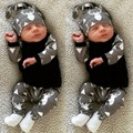 2017 Осень Новый baby boy девушка одежда милые мода новорожденных одежда с длинным рукавом футболка + брюки + шляпа 3 шт./костюм детская одежда набор