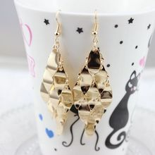 Fashion Metal Gold Silver Overlap Long Female Geometric Dangle Earrings For Party