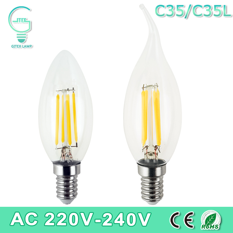 Dimmable LED Edison C35/C35L E14 LED Candle Light Filament Retro Clear Lamp 2W 4W 6W 220V 240V Cold/Warm White for Chandelier dimmable e27 g50 led vintage filament light lamp 6w 220v 240v clear or frosted glass retro edison bulb cold white warm white