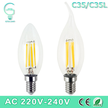 Dimmable LED Edison C35/C35L E14 LED Candle Light Filament Retro Clear Lamp 2W 4W 6W 220V 240V Cold/Warm White for Chandelier