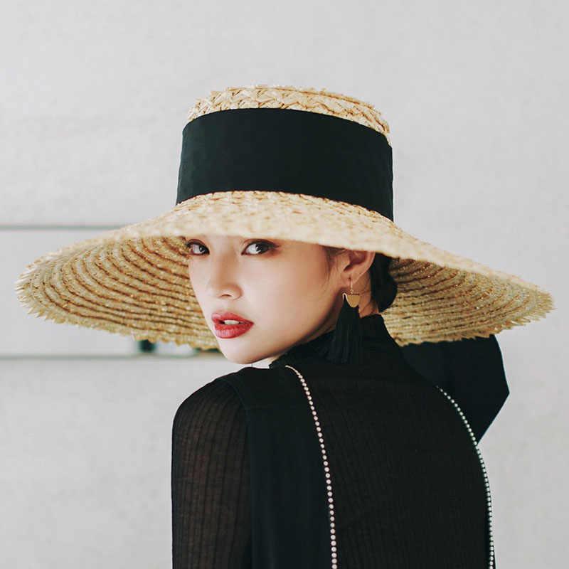 9e8f3a41d9 ... [La MaxPa] 2018 Wide Big Brim Summer Beach Wheat Straw Women Boater hat  with ...