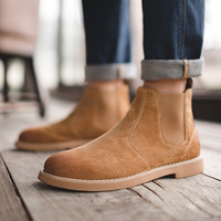 2018 Fashion Men Chelsea Boots Autumn All Match Black Shoes Genuine Leather Upper Flats Boots Solid Trend Martin Boots 38 44
