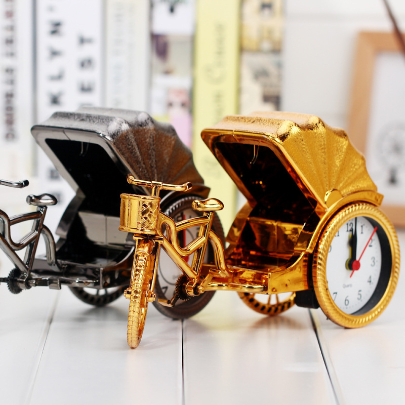 Classic Vintage Style Retro Rickshaw Design Alarm Clock Desk desktop Table Clock Home Office Decor Birthday Gift for Children|home decor|gift clock|gifts for children - title=