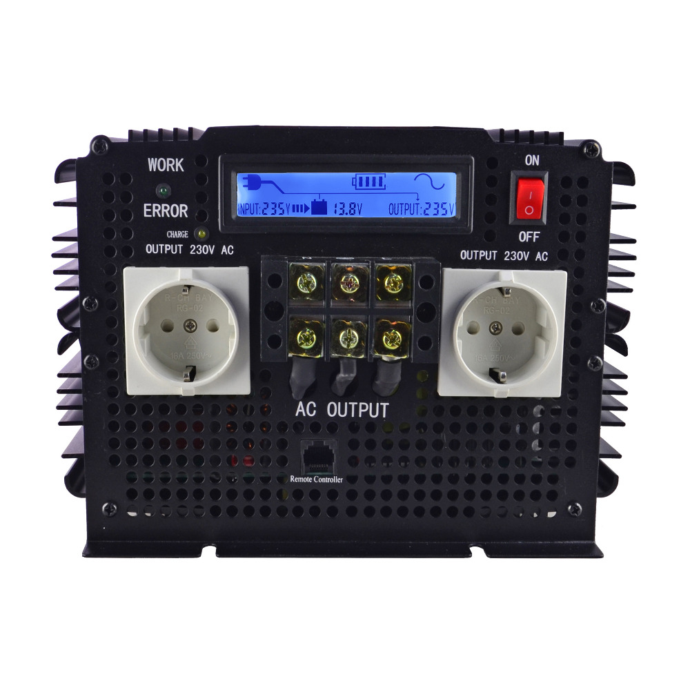 Pantalla LCD UPS inversor de onda sinusoidal pura 3500 W 7000 W (pico) 12 V a 220 V Inverter + cargador y UPS, carga silenciosa y rápida alimentación