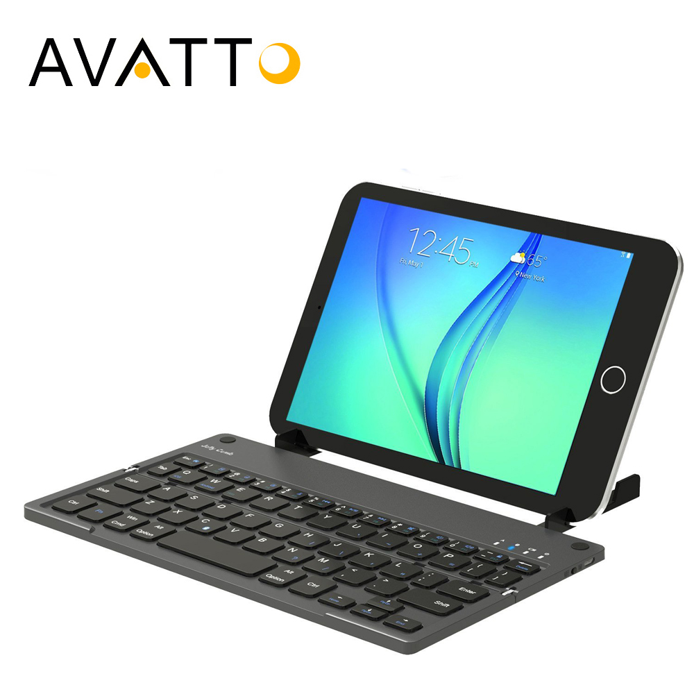[AVATTO] New Bluetooth Folding mini Keyboard with Stand Foldable BT Wireless Keypad For IOS/Android/Windows ipad Tablet phone kuwfi foldable keyboard wireless bluetooth 3 0 keyboard laptop tablet phone mini keyboard for android ios mac windows