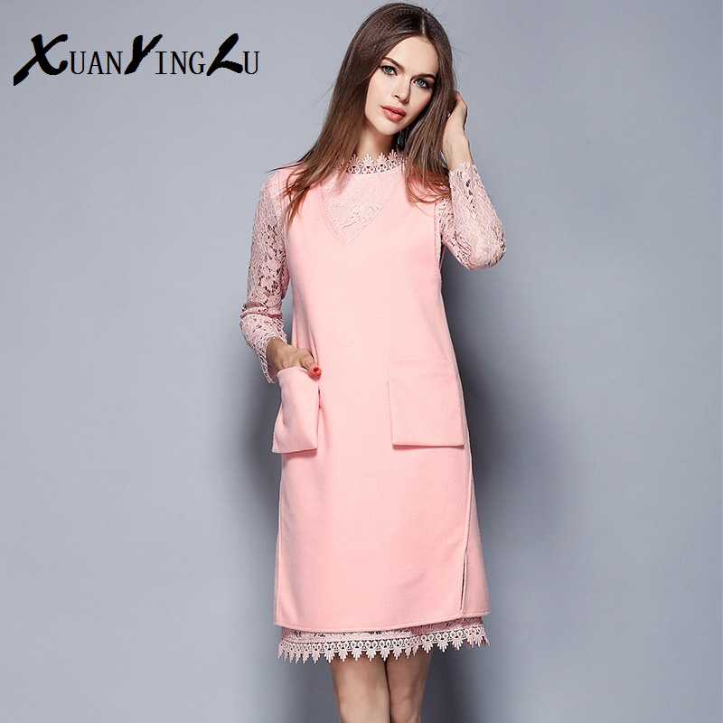 Xuanyong Lu Mini Dress 2016 New Women European High End Brands Fashion Lace Long Sleeved Two Piece Liner Dresses In From S