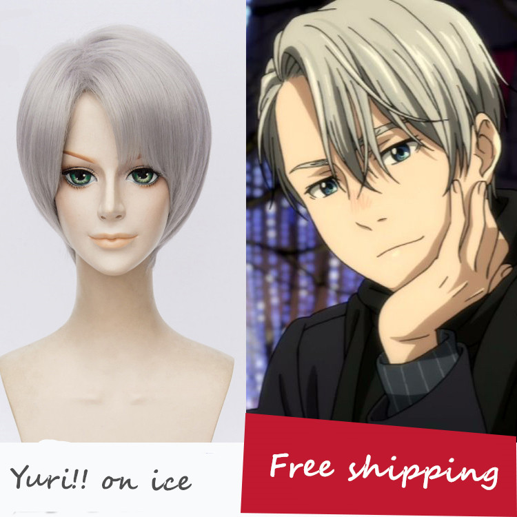 Yuri!!! on Ice Nikiforov Victor Men's Silver Short Straight Cosplay Full Wig with hair net free shipping 170 amnesia shin cosplay costume short dark red mix wig free shipping ma34