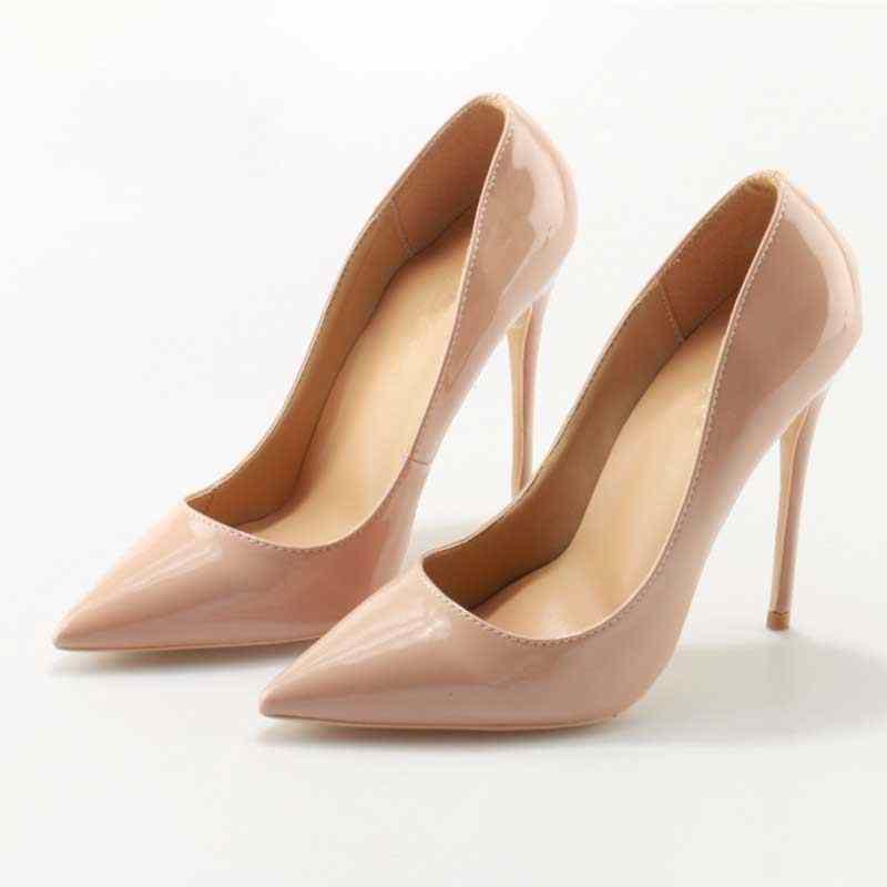 c4b9e9f14d Patent Leather Nude Black 10/12CM High Heels Dress Pumps Brand Fashion  Women Shoes Solid Classic Design Office Lady Pumps