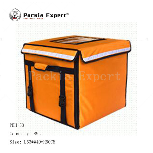 89L 46*46*42cm Food delivery bag cake or juice thermal insulation bag pizza delivery bag with support Orange Color Model: PEH-53