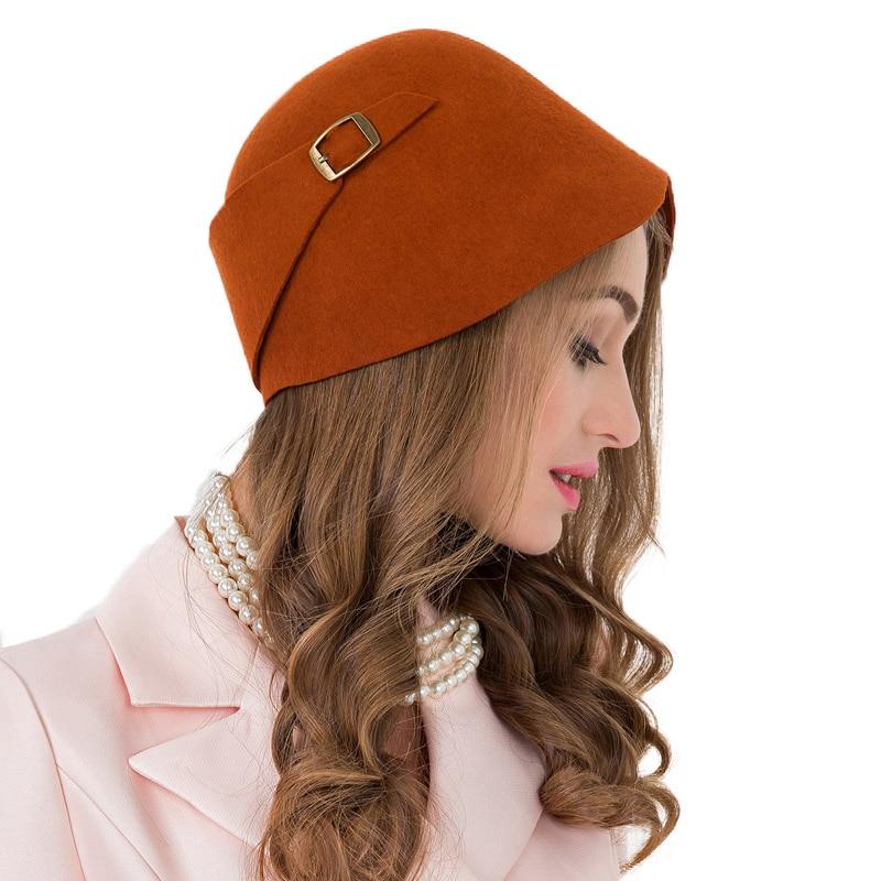 0f273979ea0d8 Detail Feedback Questions about Vintage Black Orange 100% Wool Cloche Hats  Women Wide Brim Felt Fedora Bowler Church Hat Winter Sloppy Ladies Chapeau  Femme ...