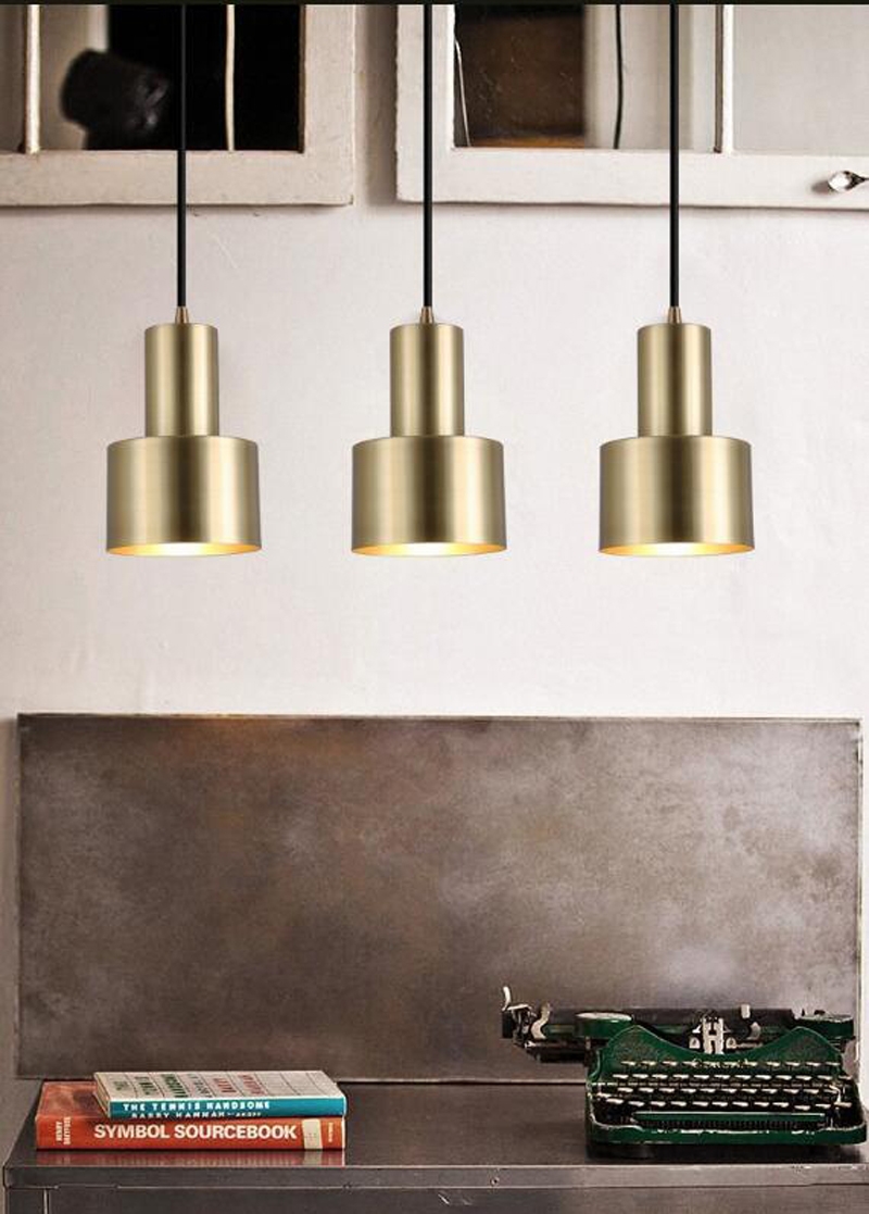 T Gold Simple American style Pendant Light For Bedroom Dining Room Balcony Corridor Living Room Fashion Retro Lamp led Bulb 10 pcs lot pneumatic fittings pe 6 6mm tee fitting push in quick joint connector pe4 pe6 pe8 pe10 pe12