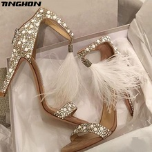 TINGHON  NEW Summer Sexy Gladiator High Heels Open Toe Beads Sandals WomenRome Platform Shoes Ladies Ankle Strap Bandage