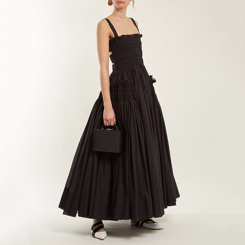 LANMREM 2019 nouveau été mode marée noir sans bretelles réservoir évider dos nu Patchwork plissé femme cheville longueur robe SA448-in Robes from Mode Femme et Accessoires    1