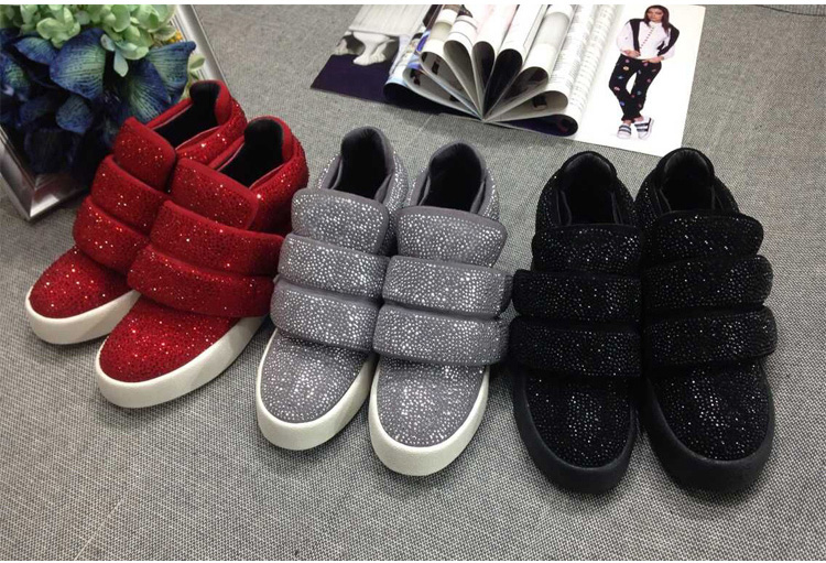 Bling Bling Crystal Hook & Loop Flat Sneakers Black Pink Gray Red Suede Tennis Shoes Fashion Comfortable Rhinestone Ankle Boot