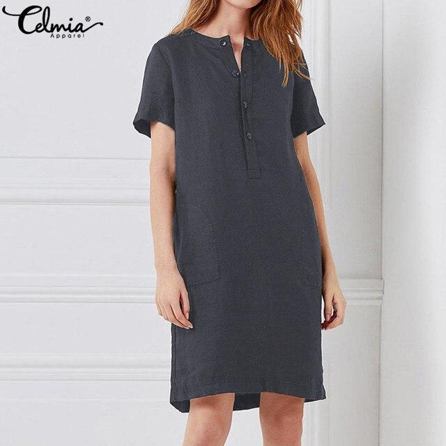 67957f32760e Celmia Plus Size Women Shirt Dress 2018 Summer Female Vintage Linen Dresses  Short Sleeve Button Casual Loose Solid Mini Vestidos-in Dresses from Women s  ...