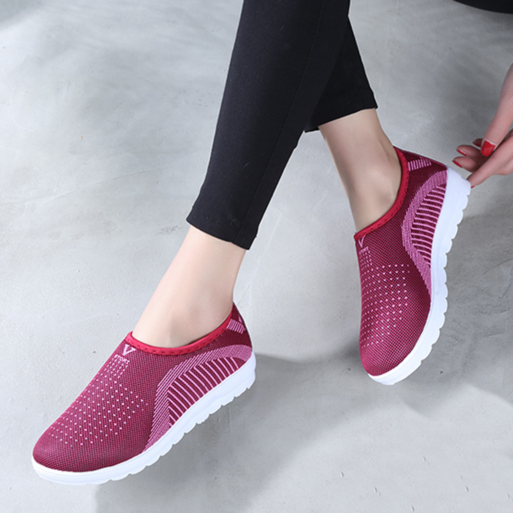 HTB1GE9KadjvK1RjSspiq6AEqXXaj MUQGEW Women's Mesh Flat shoes patchwork slip on Cotton Casual shoes for woman Walking Stripe Sneakers Loafers Soft Shoes zapato