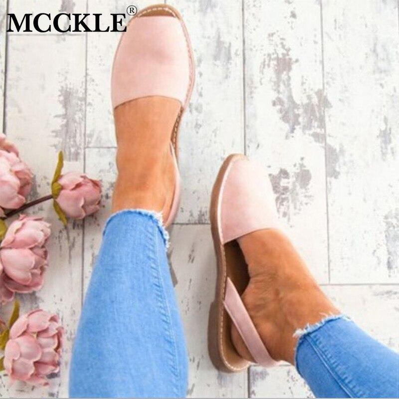 MCCKLE Sommer Sandalen Für Frauen Plus Größe Flache Weibliche - Damenschuhe