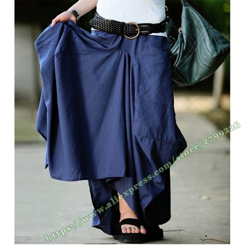 Et Vintage Coton Asymétrie Irrégulière Wine Bleu Lin Jupes Avec red Femmes Longue Grande Mode Poche Blue Marine Casual 2018 Bourgeon Femelle Maxi nId0gtqI