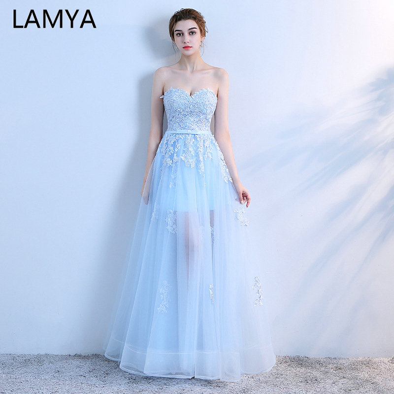 LAMYA Sky Blue Lace Appliques Sweetheart   Evening     Dresses   2019 Elegant Illusion Floor Length Prom Party   Dress   Vestido de Festa