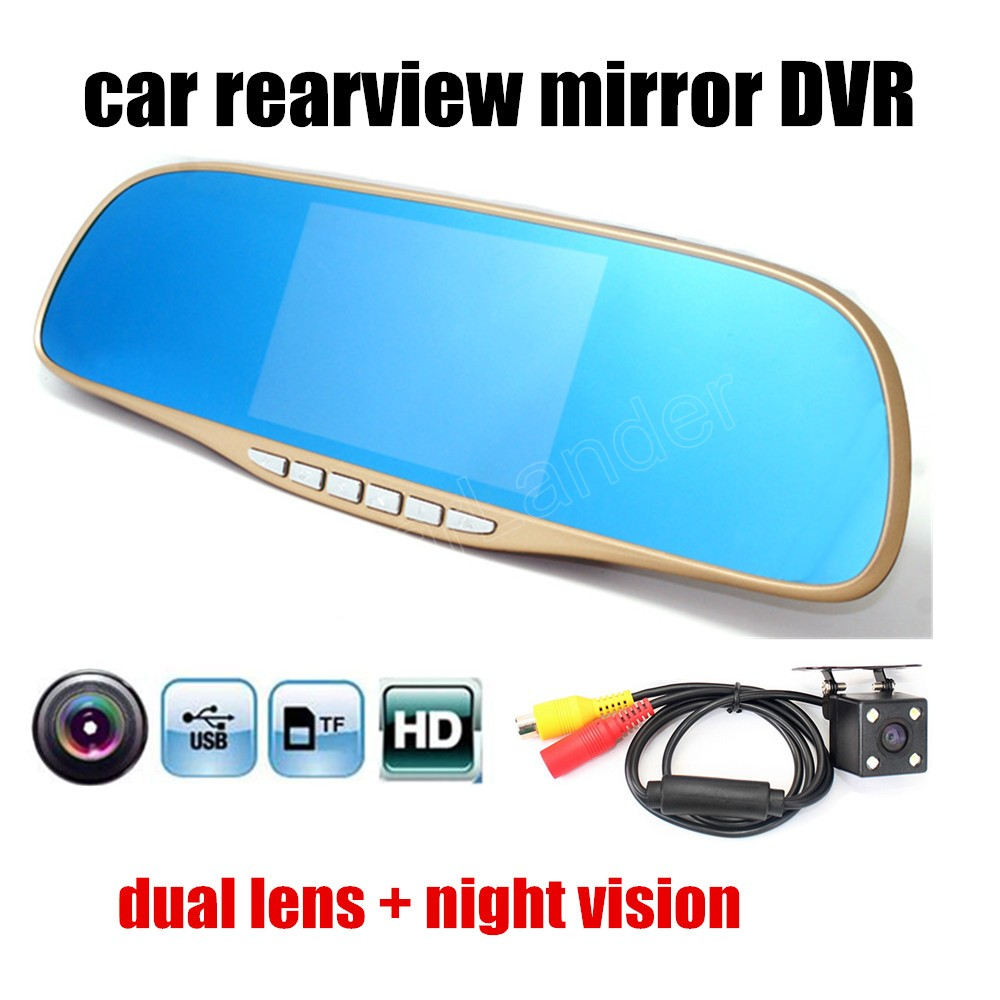 Rear-View-Mirror-Driving-Recorder Rear-Camera Dual-Lens Night-Vision Car HD With DVR