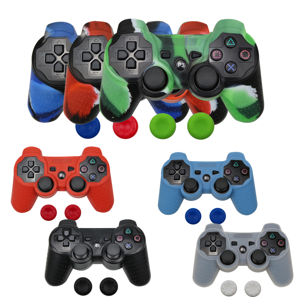 Anti-slip Silicone Cover Skin Case For Sony Dualshock 3 For PS3/PS2Controller & Stick Grip
