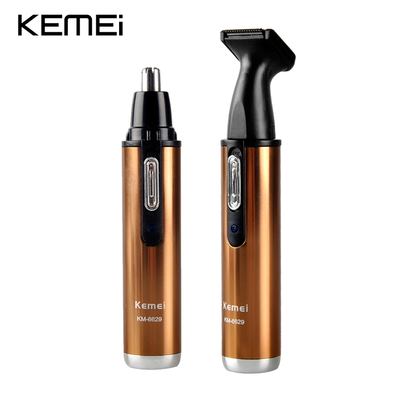 Kemei KM-6629 Shaver Clipper 2in1 Man And Woman Electric Nose Hair Trimmer Safe Face Care Shaving Trimmer For Nose Trimer