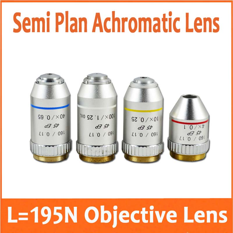 4X 10x(S) 40x(S) 100x(S+oil) 195N Semi Plan Achromatic Objective Lens 160/0.17 Thread Diameter 20.2mm for Biological Microscope 2 pcs 100x plan achromatic objective lens for biological microscope objective with spring and oil din160 0 17