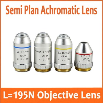 4X 10x(S) 40x(S) 100x(S+oil) 195N Semi Plan Achromatic Objective Lens 160/0.17 Thread Diameter 20.2mm for Biological Microscope