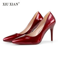 Shiny Patent Leather Thin High Heel Sexy Women Party Wedding Pumps Pointed Toe Shallow Lady Pumps 2018 Summer Autumn New Fashion
