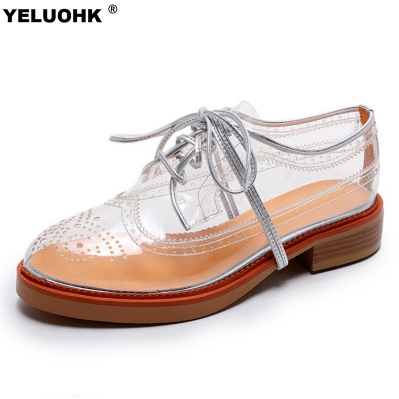 2017 Summer Breathable Flat Shoes WomanTransparent Brogue Shoes Women Fashion Platform Oxford Shoes For Women Lace Up free shipping candy color women garden shoes breathable women beach shoes hsa21