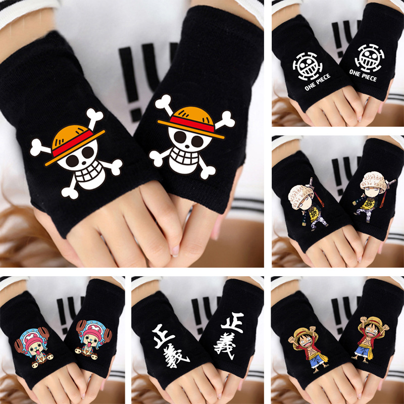 Apparel Accessories Fashion Boy Knitted Gloves One Piece Pirates Whitebeard Monkey Luffy Law Skull Fingerless Cotton Glove Girl Cosplay Mittens Gift