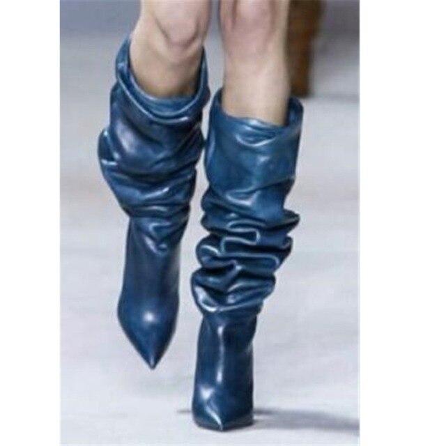 COCOAFOAL Pilili Düz kadın Kovboy Çizmeler Diz Yüksek Çizme Kadın Ayakkabı Seksi Orta Buzağı Kovboy Çizmeler Sivri Burun düz Çizmeler