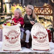 Ourwarm Christmas Large Santa Sack Felt Candy Gifts Bag Canvas Storage Bags Kids Decoration New Year 2019 50*70cm