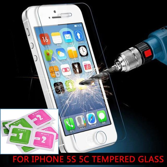 Wangcangli 10 шт. для iphone 5s закаленное стекло экрана protectoron в iphone 5s передняя ясно защитное стекло на iphone 5S