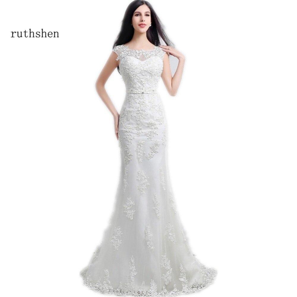 ruthshen Modest Mermaid Wedding Dresses Cheap 2018 New Appliques Lace Beaded  Sash Slim Bridal Dress Gowns Under 100 016d31372e7c