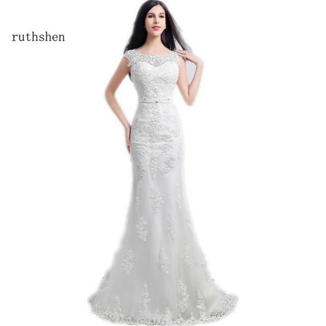 Ruthshen Modest Mermaid Wedding Dresses 2018 New Liques Lace Beaded Sash Slim Bridal Dress Gowns