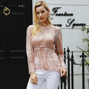 Image 2 - Simplee Kant Borduurwerk Peplum Blouse Shirt Vrouwen Elegante Ruches Flare Mouw Witte Blouse Vrouwelijke Casual Hollow Out Zomer Tops