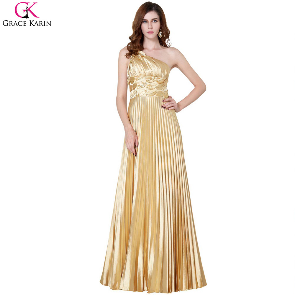 Grace karin long evening dresses 2017 elegant gold one for Long dresses for wedding party