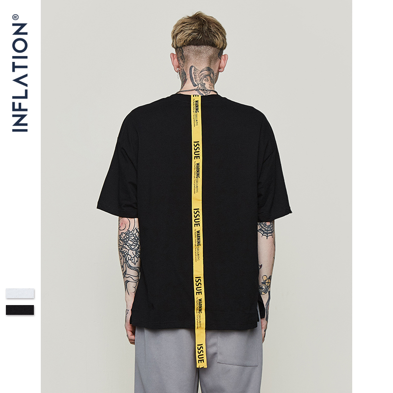 INFLATION Lettering yellow long ribbon brand   t     shirt   mens   t  -  shirt   short sleeve tops & tees 2018 ss new arrivals streetwear 8191S