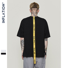 INFLATION Lettering yellow long ribbon brand t shirt mens t-shirt short sleeve tops & tees 2018 ss new arrivals streetwear 8191S