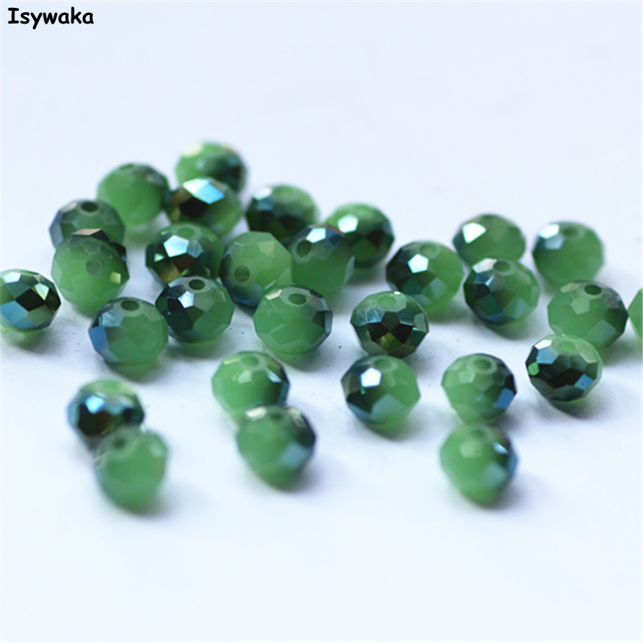 Isywaka Non-hyaline зеленый цвет мм 4*6 мм 50 шт. Rondelle Австрия граненый кристалл Стекло свободный разделитель Бисер Круглые бусины для DIY Изготовление