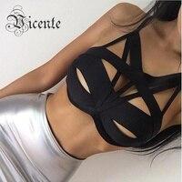 Hot Style! nouveau En Livraison Gratuite! fabuleux Chic Sexy Cut Out Bretelles Bandage Top Crop Top VJ059