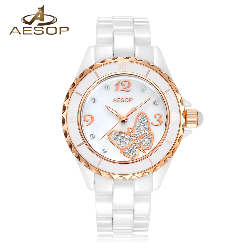 Fashion Dress Ceramic watch women Sapphire glass gold dial butterfly waterproof analog quartz wrist watch relogio feminine holuns watch women sapphire glass white dial quartz waterproof multicolor red leather strap watch
