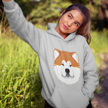 Japanese Akita Hoodie Japanese Akita Hoodies Over Size Streetwear Hoodies Women Printed Cotton White Long Sleeve Pullover Hoodie недорго, оригинальная цена
