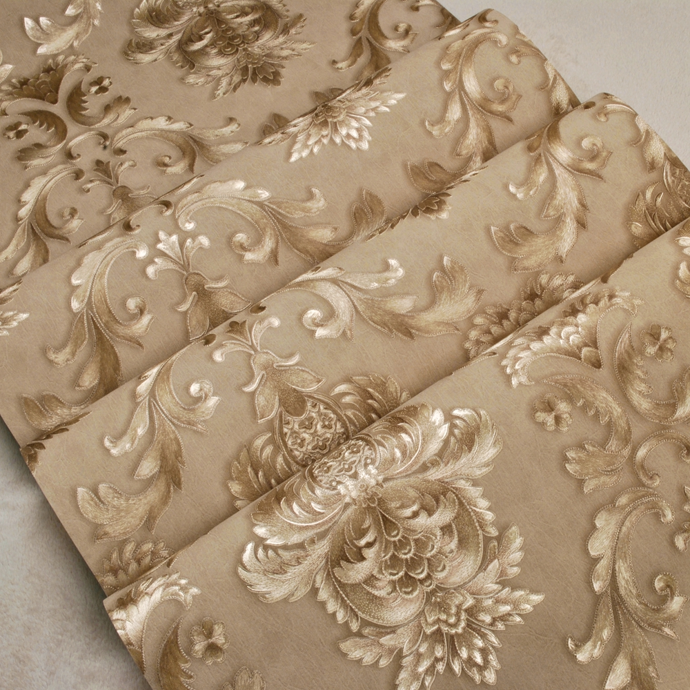 Waterproof Vinyl Classic Damascus Wallpaper Rolls for Living Room Background Golden Papel 3d Wall paper Roll Wall covering wholesale classic wall paper wall damask wallpaper golden floral wall covering 3d velvet living room home background decor