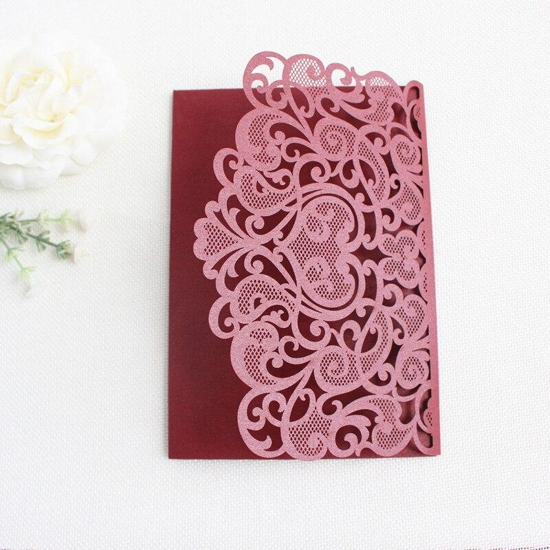 Burgundy laser cut pocket wedding invitations flower tri folded customized marriage birthday invitation card with envelop