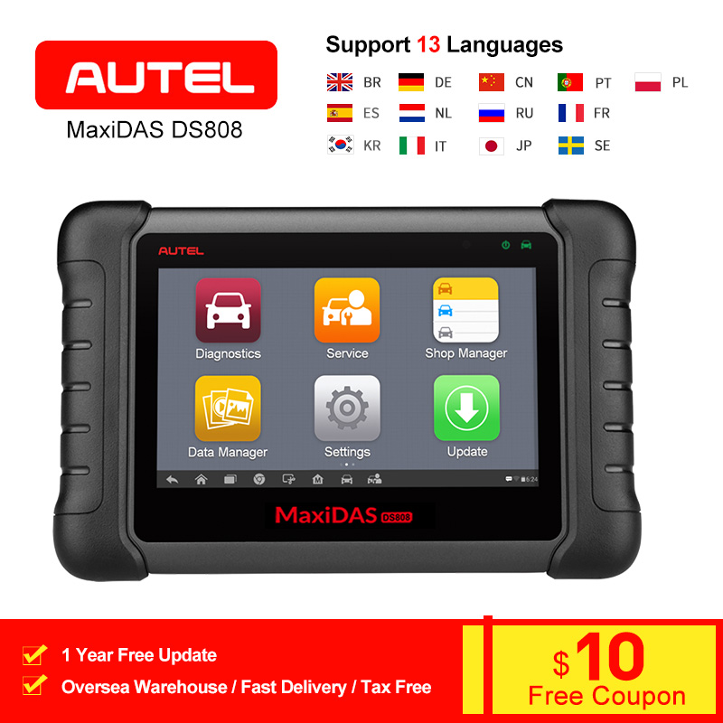 AUTEL MaxiDAS DS808 OBD2 Car Diagnostic Scanner Tool Automotive Full System ECU Coding Code Reader Upgraded version Of DS708