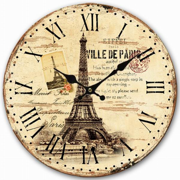 european eiffel tower wall clock retro vintage antique wooden wall clock modern design 12 inch oversized clocks home decor