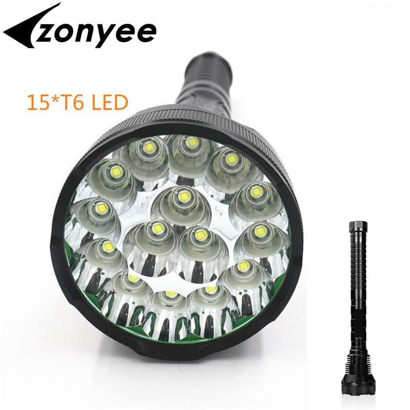 Zonyee Flashlight 30000 lumen 15*XML T6 LED 26650 18650 Waterproof Floodlight Flashlight Camping Torch lamp, Hunting 9 cree xml t6 led 20000 lumen 18650 26650 outdoor waterproof floodlight flashlight torch lantern camping light lamp hunting